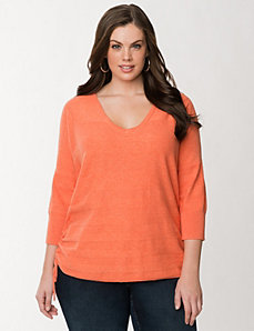 Side ruched sweater by LANE BRYANT