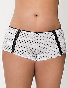 Sassy cotton boyshort panty with lace