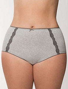 Sassy cotton brief panty with lace