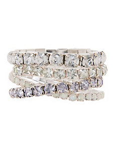 Four row rhinestone stretch bracelet