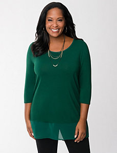 Tunic with chiffon trim by LANE BRYANT