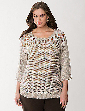 Sequined open stitch sweater