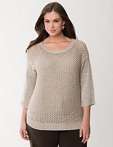 Sequined open stitch sweater by LANE BRYANT