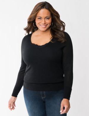 Merino blend V-neck sweater