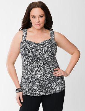 Lace print tiered shell