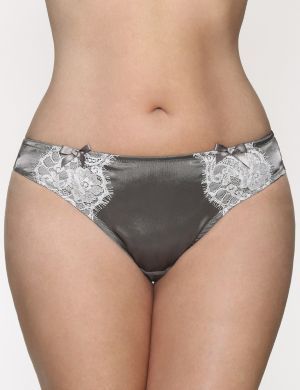Satin & lace thong panty