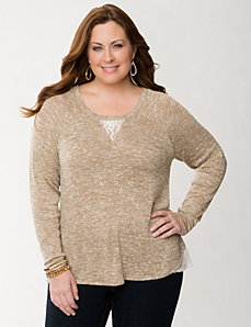 Lace inset tunic by Lane Bryant