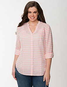 Striped rolled sleeve shirt by LANE BRYANT