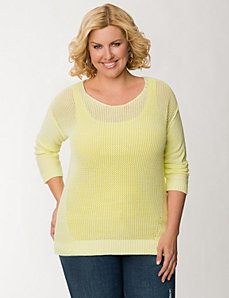 Open stitch high-low sweater by LANE BRYANT