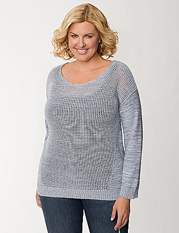 Open stitch high low sweater