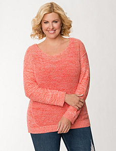 Open stitch high-low sweater