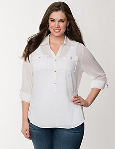 Knit side woven shirt by LANE BRYANT