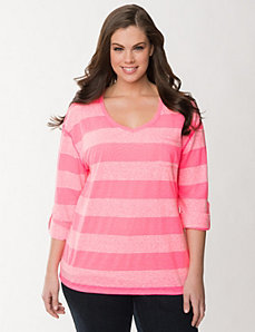 Burnout striped pocket tee by LANE BRYANT