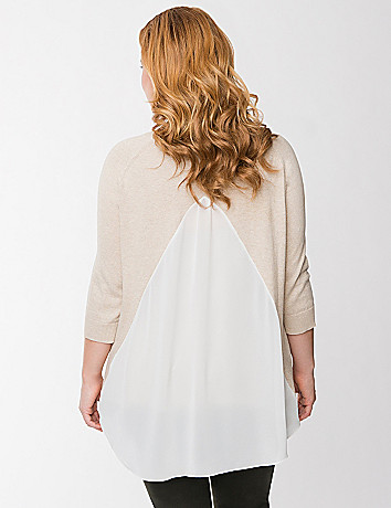 Chiffon split back sweater