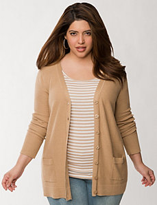 Textured boyfriend cardigan by LANE BRYANT