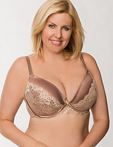 Satin push up plunge bra with lace by LANE BRYANT