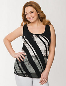 Studded screen tank by LANE BRYANT