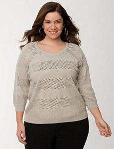 Perforated pullover sweater by LANE BRYANT