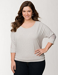 Banded bottom top with chiffon insets by LANE BRYANT