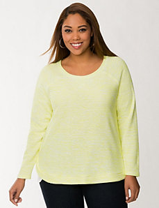 Knit sweatshirt with woven hem by LANE BRYANT