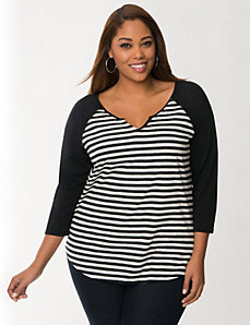 Striped baseball tee by LANE BRYANT