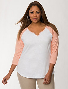 Notched baseball tee by LANE BRYANT