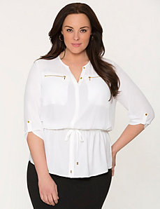 Zip pocket peplum blouse by LANE BRYANT