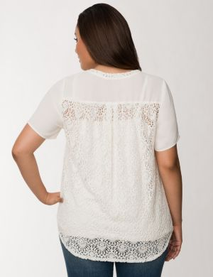 Lace back woven tee