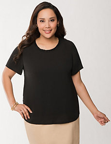 Lace back woven tee by LANE BRYANT