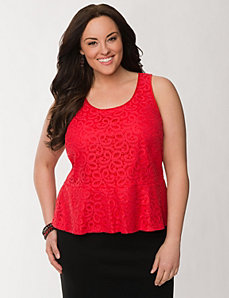 Lace front peplum tank by LANE BRYANT