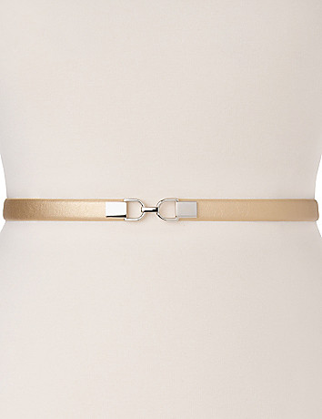 Metallic skinny stretch belt