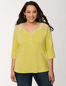 Lace yoke Henley by LANE BRYANT
