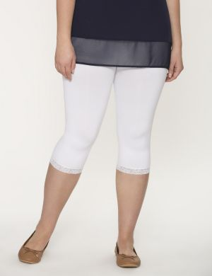 Control top capri legging tights with lace cuffs
