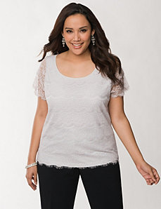 Lace front tee by LANE BRYANT