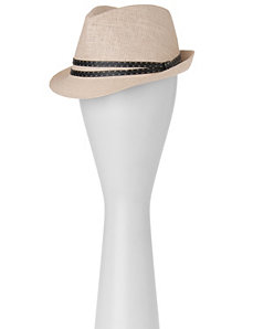 Straw fedora with striped band