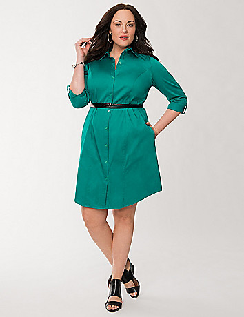 Sateen shirt dress