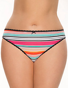 Sassy cotton thong panty with lace by LANE BRYANT