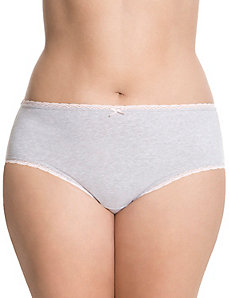 Sassy cotton hipster with lace trim