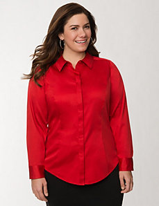 Classic collared shirt with covered placket by LANE BRYANT