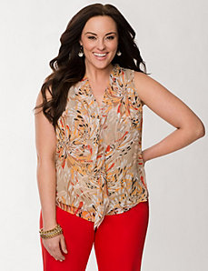 Printed frayed ruffle shell by LANE BRYANT