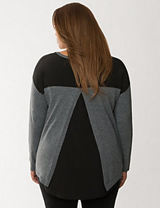 Split back sweater with woven panels