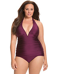 V-wire halter one-piece swim suit