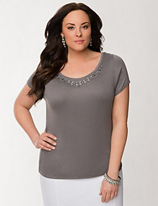 Embellished delicate rib tee by LANE BRYANT