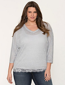 Lace trimmed burnout top by LANE BRYANT