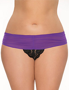 Shirred crotchless thong panty