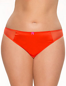 Satin & mesh thong panty by LANE BRYANT