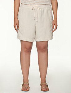 Knit waist linen short by LANE BRYANT