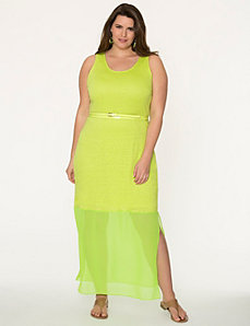 Linen maxi dress with chiffon hem by LANE BRYANT