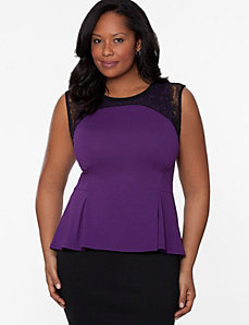 Lace shoulder peplum tank