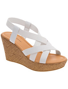 Stretch strap wedge sandal